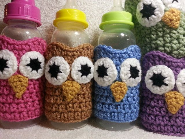 Crochet Owl Baby Bottle Sleeve Cozies - would be cute for my water and smoothie bottles