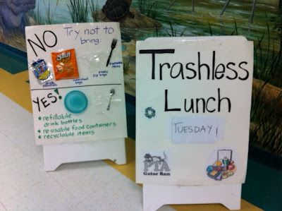 Trashless Tuesday:  students at lunch try to use the least amount of trash in their lunchboxes