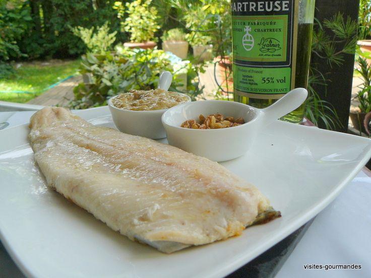 Une recette isèroise , filet de truite, sauce chartreuse et noix