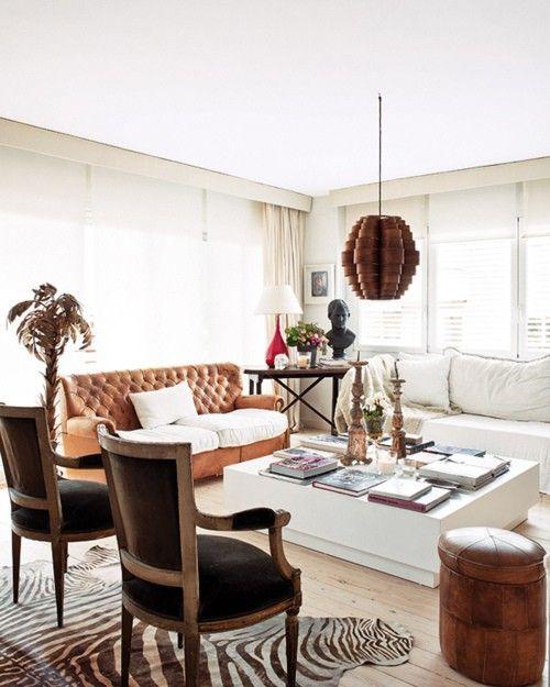 Eclectic Living Room With Zebra Hide Rug