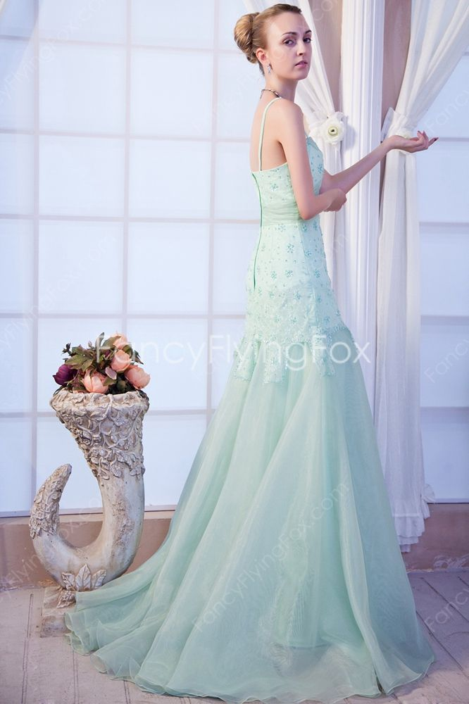 Spaghetti Straps Sage Organza A-line Full Length Formal Evening Dresses With Lace