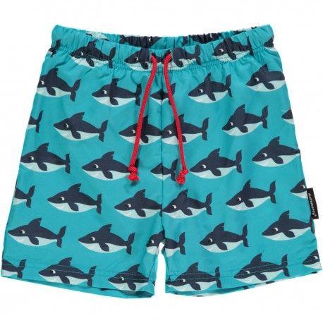 Swimshorts, sharks turquoise, Maxomorra