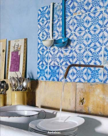 Love the blue tiles and gold with copper.. Utility room/outdoor sink area.
