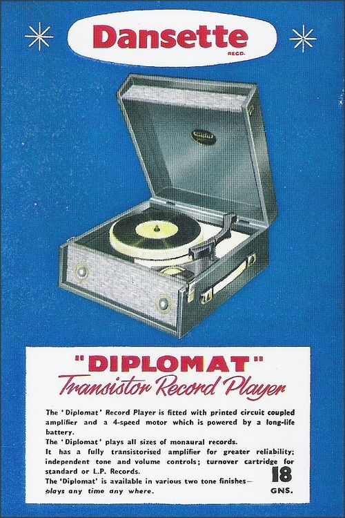 Dansette, 1960 ... Diplomat Transistor Record Player ...