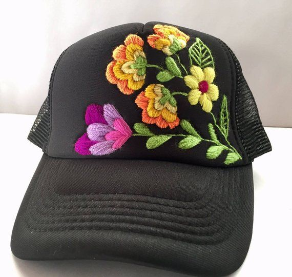 Floral Design Hat All Handmade They Take Approximately A Day To Embroider Theres A Lot Of Work Yo Hat Embroidery Embroidered Hats Sewing Embroidery Designs