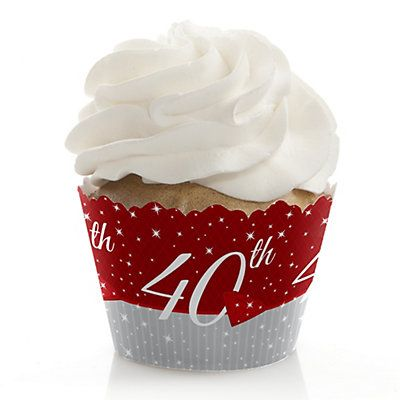 40th Anniversary - Wedding Anniversary Cupcake Wrappers | BigDotOfHappiness.com