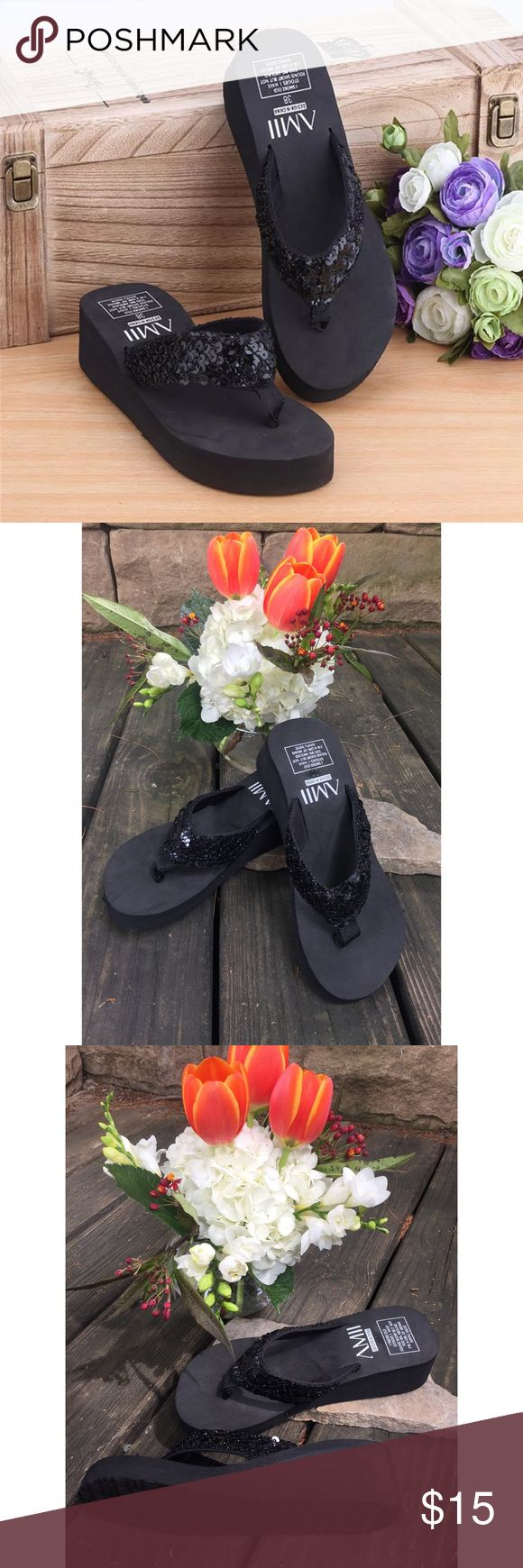 Glitter flip flops These Black platform sandals , glitter flip flops are new without tags  Brand: Brighton  Size: 7 Color: black   Tags for search: Flip flops, glitter flip flops, fashion flip flops , sandals, Flip flops platform, summer sandals, beach sandals, flip flops, Summer flip flops Shoes Sandals