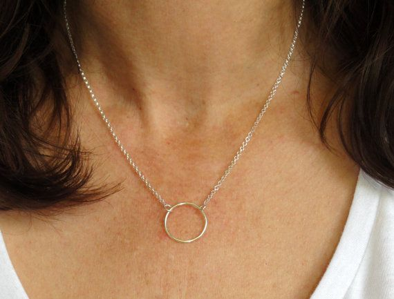 Sterling silver circle necklace Circle necklace by GemmaJolee