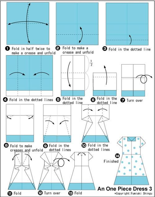 Simple Origami One Piece Dress Folding Instructions / Origami Instruction