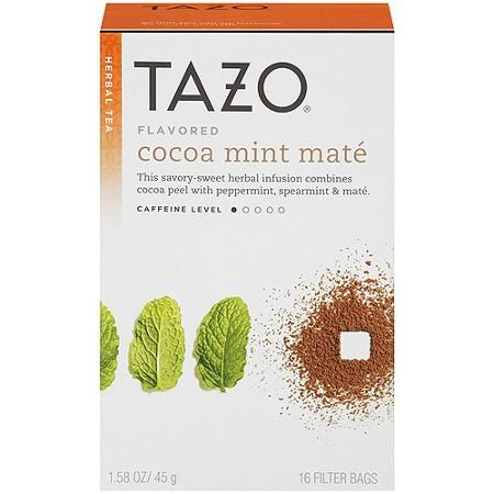 Tazo Flavored Cocoa Mint Mate Herbal Tea Bags, 16 count