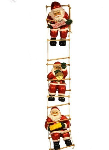 Santas Climbing Ladder Figurine There is not just one Santa in this piece, but three. Each Santa is hanging on a different spot of a 7 foot ladder and playing a different musical instrument.