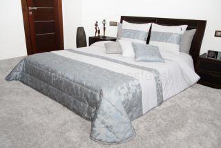 Bielo strieborny luxusný prehoz na posteľ