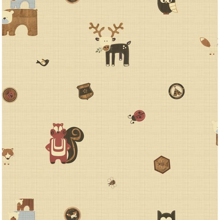 "Forager Woodland Critters 33' x 20"" Wildlife Wallpaper"