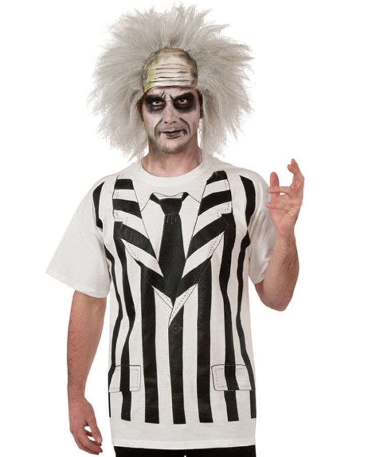 Beetlejuice Mens Shirt With Wig In 2019 Costume Shirts Beetlejuice Costume Beetlejuice