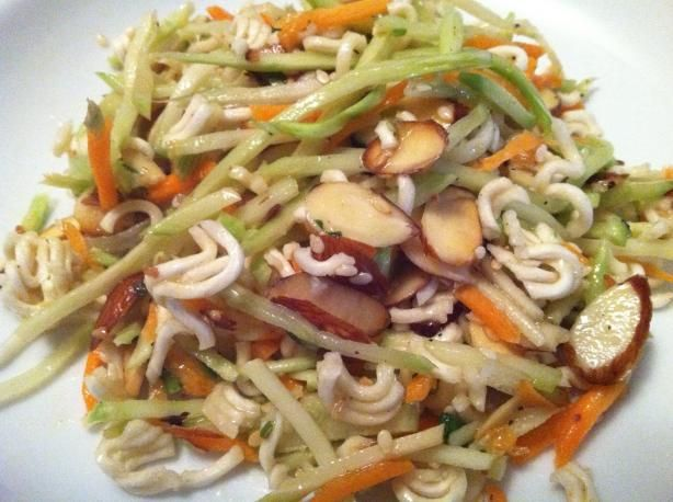 Asian Ramen Coleslaw - I also add sliced almonds & sunflower seeds to this.