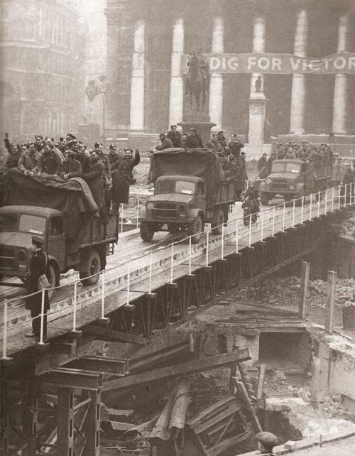 World War II, London. Bomb damage near the Bank of England.