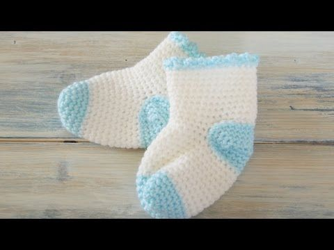 ▶ (Crochet) How To - Crochet Newborn Baby Sock Booties - YouTube, just lovely: thanks so for sharing xox