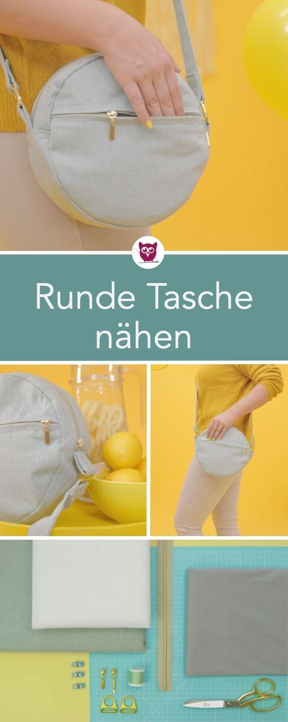 #RundeTascheRuby aus dem #DIYeuleBuch : kleine runde Handtasche mit Reißverschl… – DIY Eule