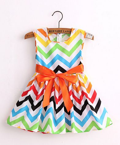 ZigZag Print Girls Dress - Multiple Colors - Cotton