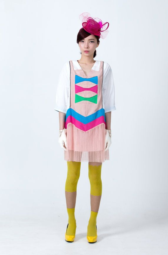 SAMPLE SALE Colour blocked mini flapper dress by couturierholiday, $180.00