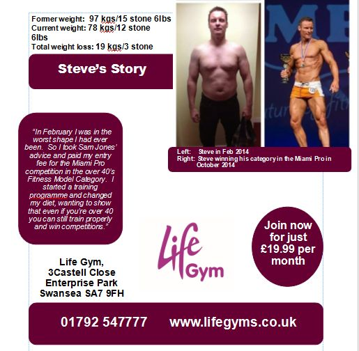Check out how Steve's training programme helped him to win a major fitness modelling competition   www.lifegyms.co.uk