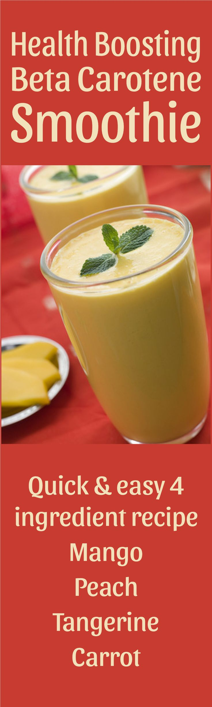 Quick and easy 4 ingredient smoothie to boost beta-carotene levels. Beta carotene is, among other things, needed for healthy skin and immune system.