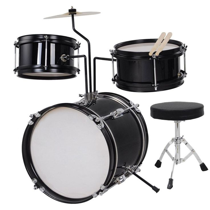 3pcs 8inch Junior Kids Drum Set Black w/ Cymbal Drum Throne