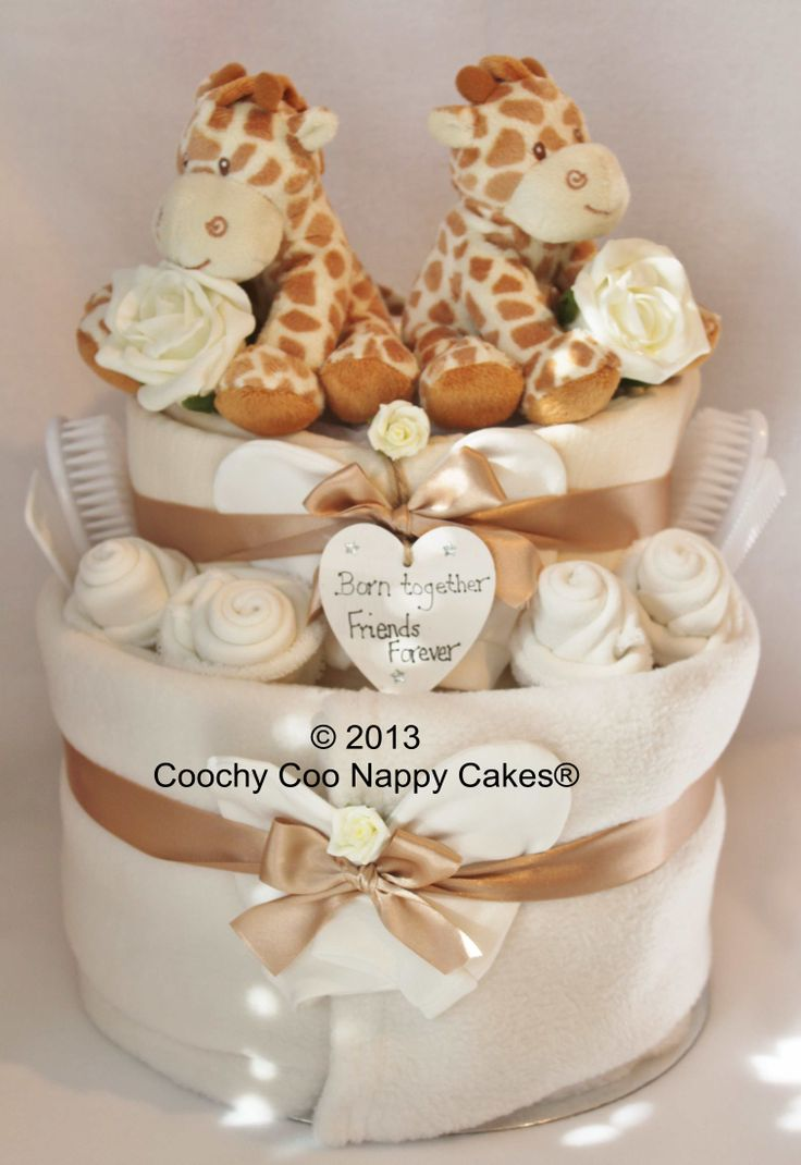 Unisex Nappy Cake Baby Gift for twins by Coochy Coo Nappy Cakes