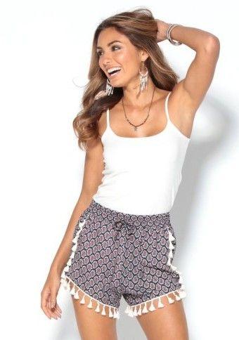 Šortky s potiskem a střapečky #ModinoCZ #shorts #šortky #boho