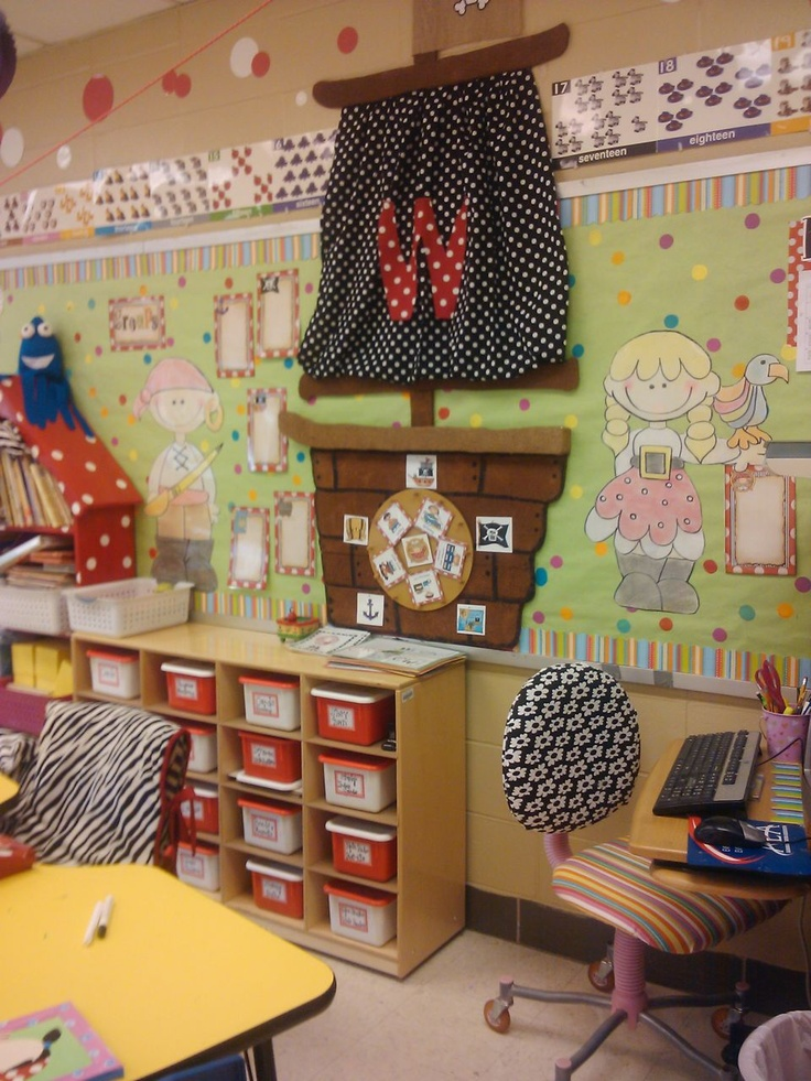 classroom-pirates/ocean.  Maybe make a spinning wheel with fun things on it or centers?