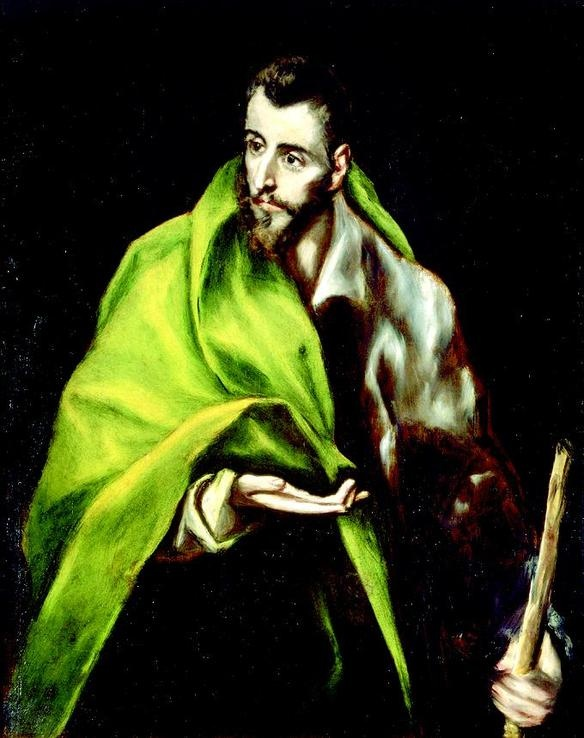 This is a picture of an art piece called St. James the Less by El Greco. It is a very detailed art.