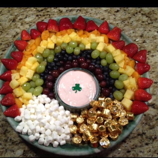 St. Patrick's Day-food idea-Rainbow Snack Platter with Yogurt Dip or Chocolate Fondu