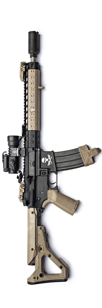 Noveske Rifleworks 300BLK carbine by Stickman. With NSR rail and panels, flaming pig brake, MBUS, Aimpoint, MIAD grip, Magpul mag pull, and UBR stock.
