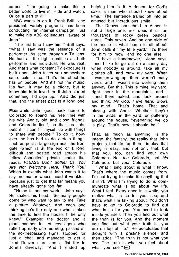 John Denver (TV Guide - November 30 - December 6, 1974)