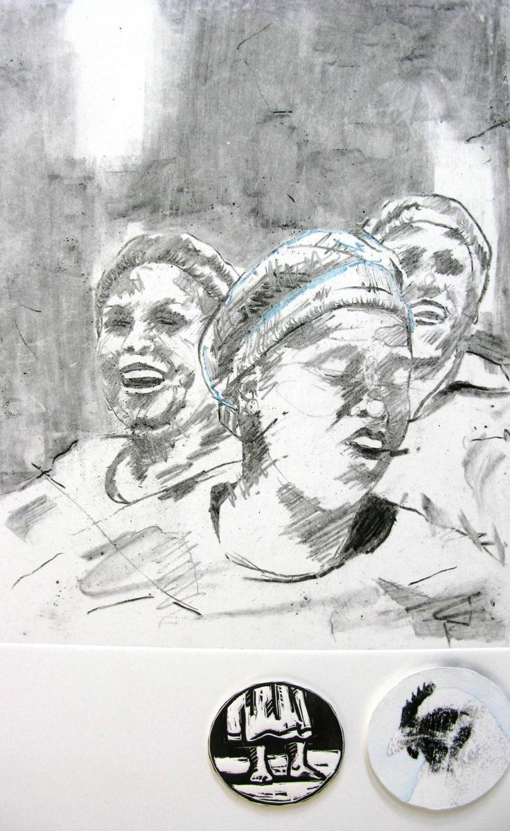'Omama' charcoal mono print on Fabriano 47X35cm 2012