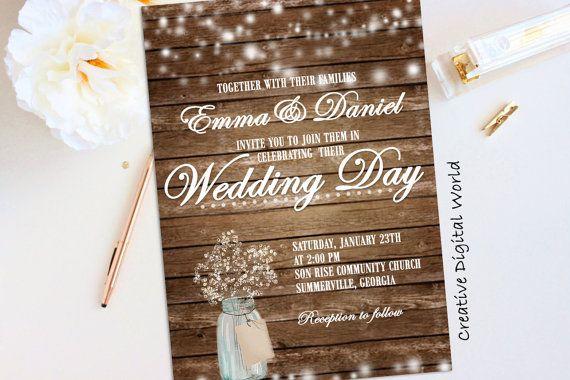 Rustic Bridal Shower Invitation Printable by CreativeDigitalWorld