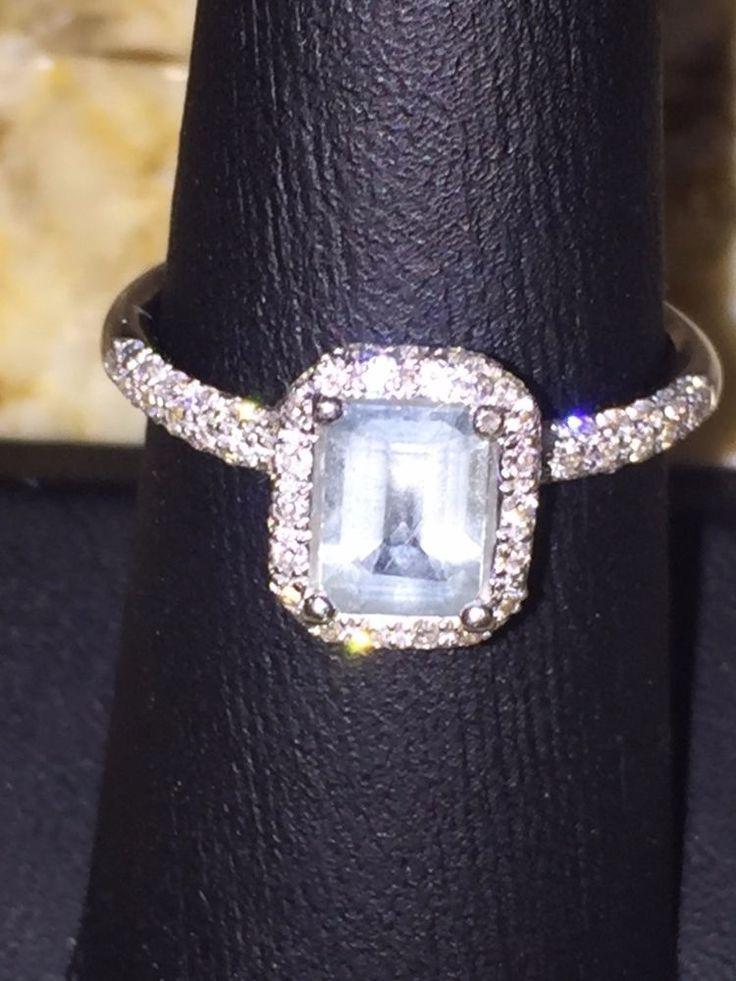 LOWER PRICE!- AQUAMARINE EMERALD CUT 5X7MM 14K WHITE GOLD DIAMOND RING- SZ 6.5…