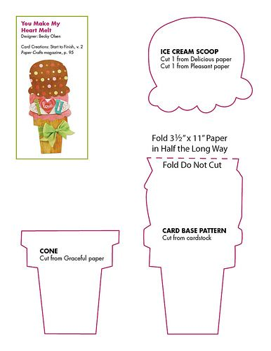 Free Ice Cream Cone Card Pattern
