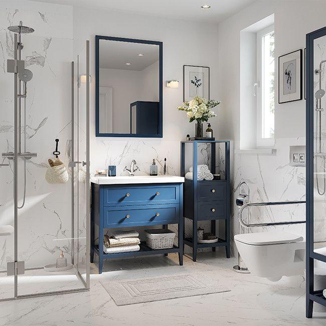 Szafka Pod Umywalke Goodhome Perma 80 Cm Granatowa Pod Umywalke Bathroom Inspiration Home Sweet Home
