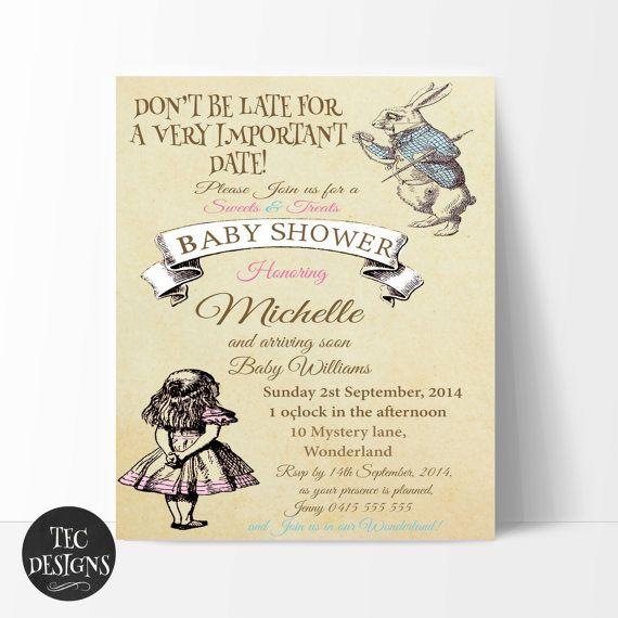 Vintage Alice in Wonderland Baby Shower Invitation by TECDesigns