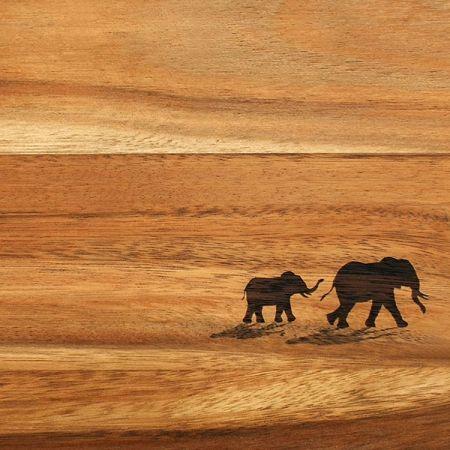 Legno con elefanti dipinti