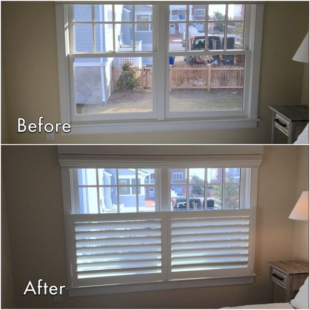 ASAP Blinds | Before & after photos of cafe shutters in a Mantoloking, NJ bedroom.