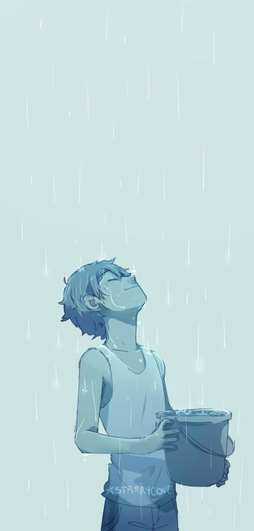 """I miss rain.""<<<Lance in the rain is one of those things that just makes me inexplicably happy."