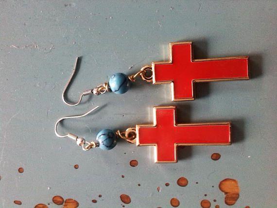 unusual earrings Red Cross medical cross earrings