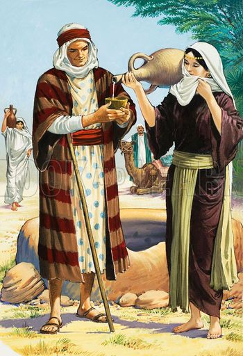 Rebekah gives water to Abraham's servant