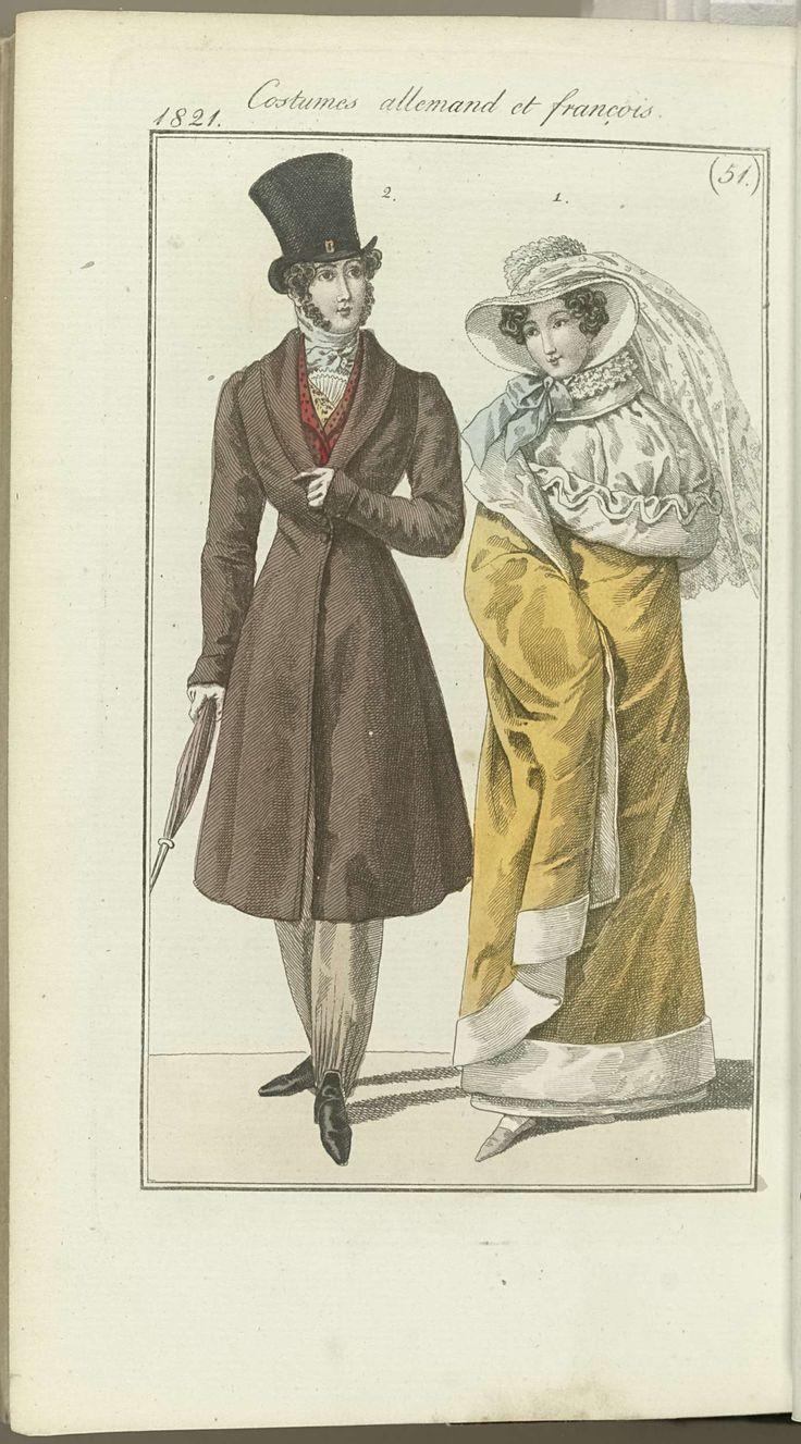 Anonymous   Journal des Dames et des Modes, editie Frankfurt 16 decembre 1821, Costumes allemand et françois (51), Anonymous, J.P. Lemaire, 1821   De begeleidende tekst (p. 679) vermeldt: Weense Mode: Fig. 1: Hoed van pluche met een voile van kant. Pelisse van geel fluweel, gegarneerd met wit pluche, met een capuchon van wit fluweel. Witte handschoenen. Gele schoenen.  Frans kostuum. Fig. 2: Hoge hoed met zeer smalle rand. Das van zijde. Vest van kasjmier; ondervest van kajsmier. Redingote…