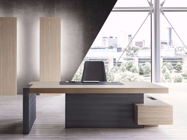L-shaped executive desk with shelves JERA | Office desk with shelves - Las Mobili