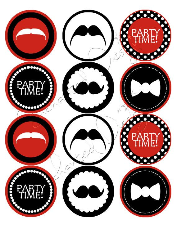 Mustache Party Stickers - DIY Printable Stickers