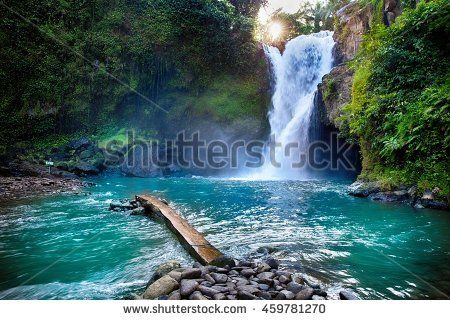 Tegenungan Waterfall it is one of places of interest of Bali / Secret Bali jungle Waterfall / Bali, Indonesia