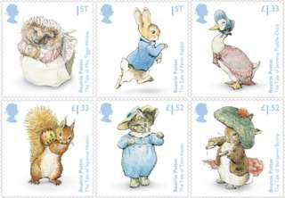 Beatrix Potter stamps released to celebrate Beatrix Potter's 150th anniversary in July 2016